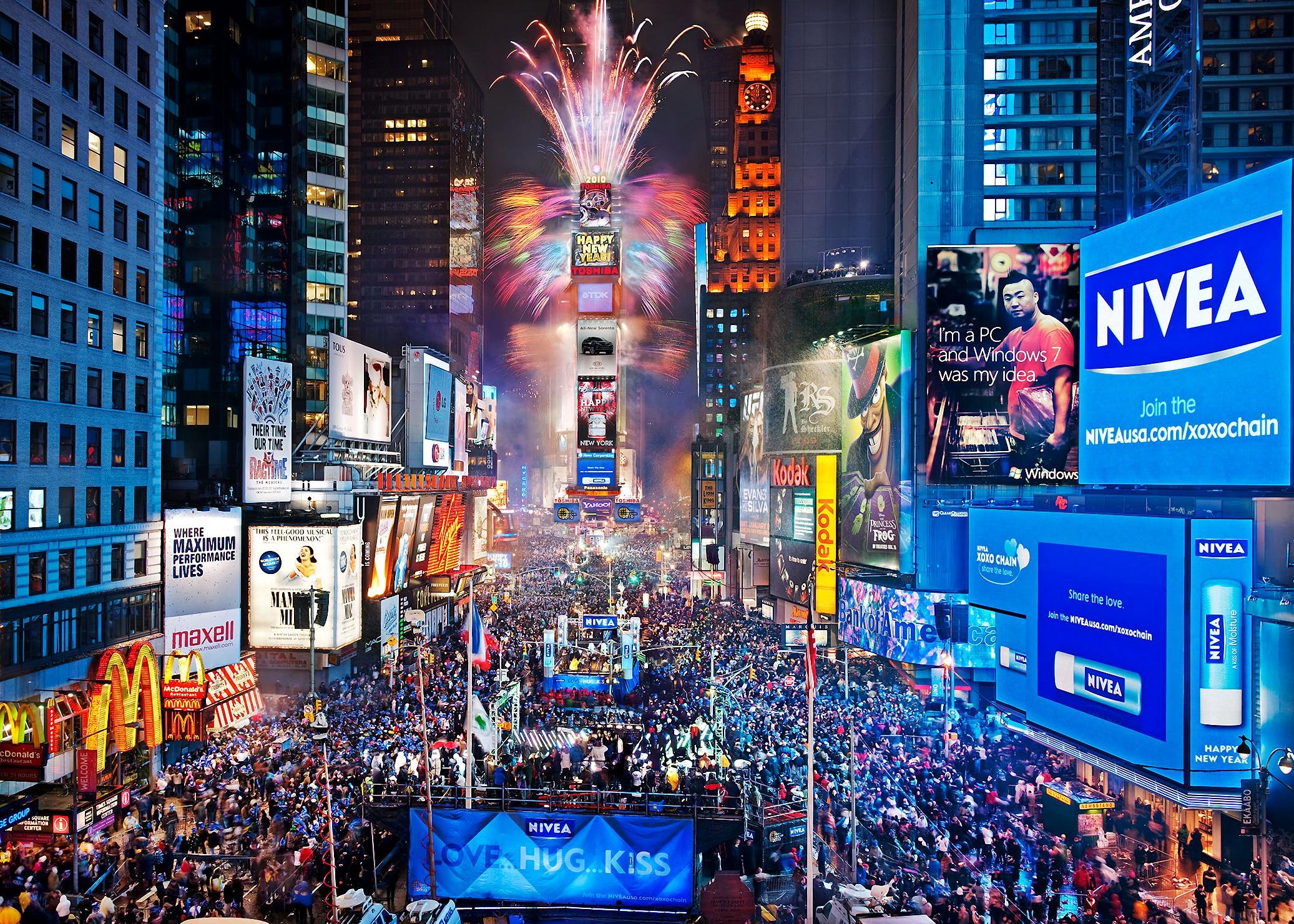 Ambiente en Time Square en Fin de Año
