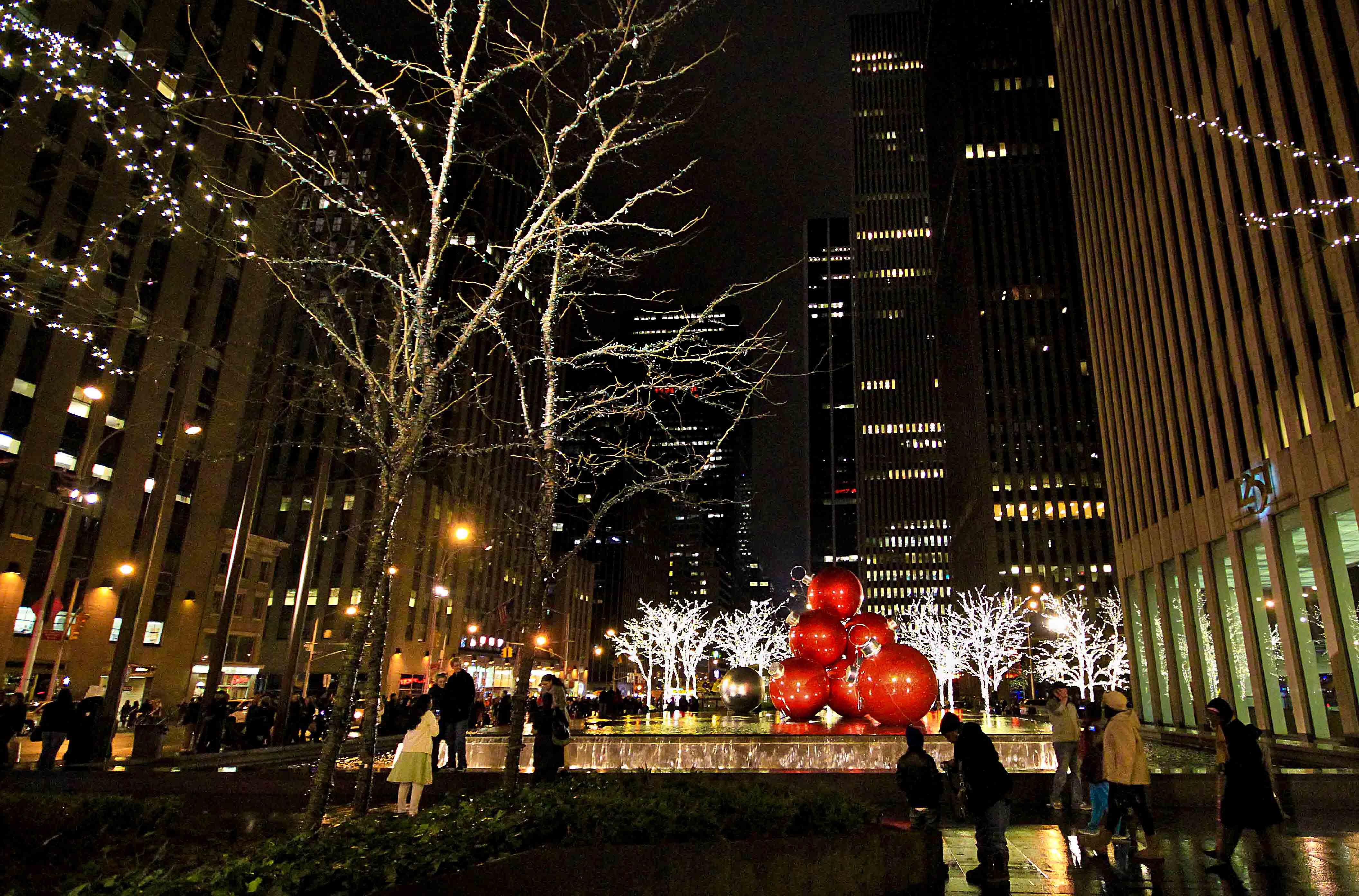 Decoración de calles de Manhattan en Navidad